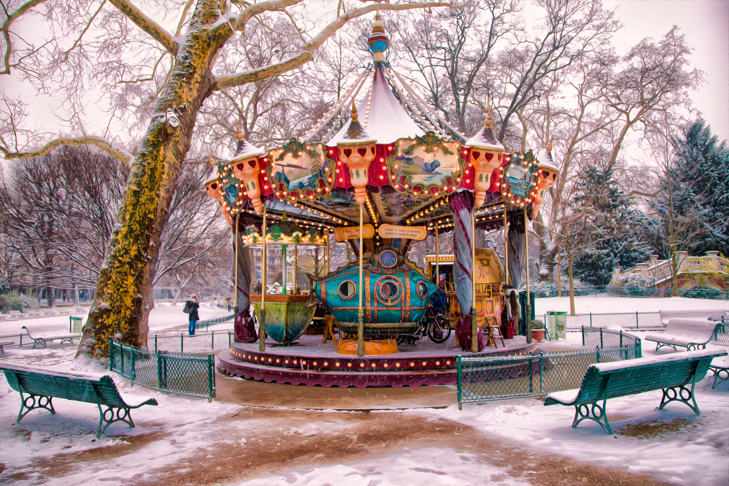The lonely carousel, Parc de Monceau (Snow in April III)